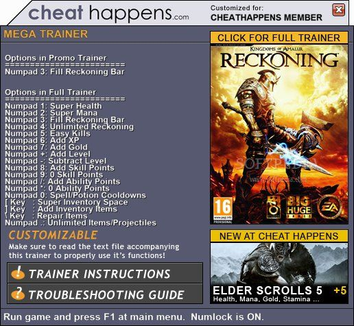 kingdomsofamalurreckonig Kingdoms of Amalur: Reckoning 1.0.0.2 Promo Trainer