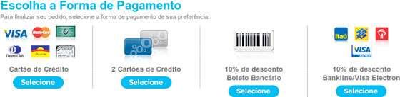 Pagina de checkout listando as formas de pagamento disponíveis