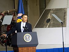 Image above: Speaking on April 15, 2010<br /> in the Operations and Checkout Building<br /> at NASA&#39;s Kennedy Space Center, President<br /> Barack Obama outlines the course his<br /> administration is charting for NASA and<br /> the future of U.S. leadership in human<br /> spaceflight. Behind him is a mock-up of an<br /> Orion spacecraft.<br /> Photo credit: NASA/Jim Grossmann<br /> <a href='http://www.nasa.gov/images/content/741777main_president_and_orion-full.jpg' class='bbc_url' title='External link' rel='nofollow external'>� Larger Image</a>