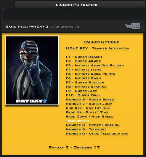 Payday 2 v1.12 Steam +17 Trainer [LinGon]