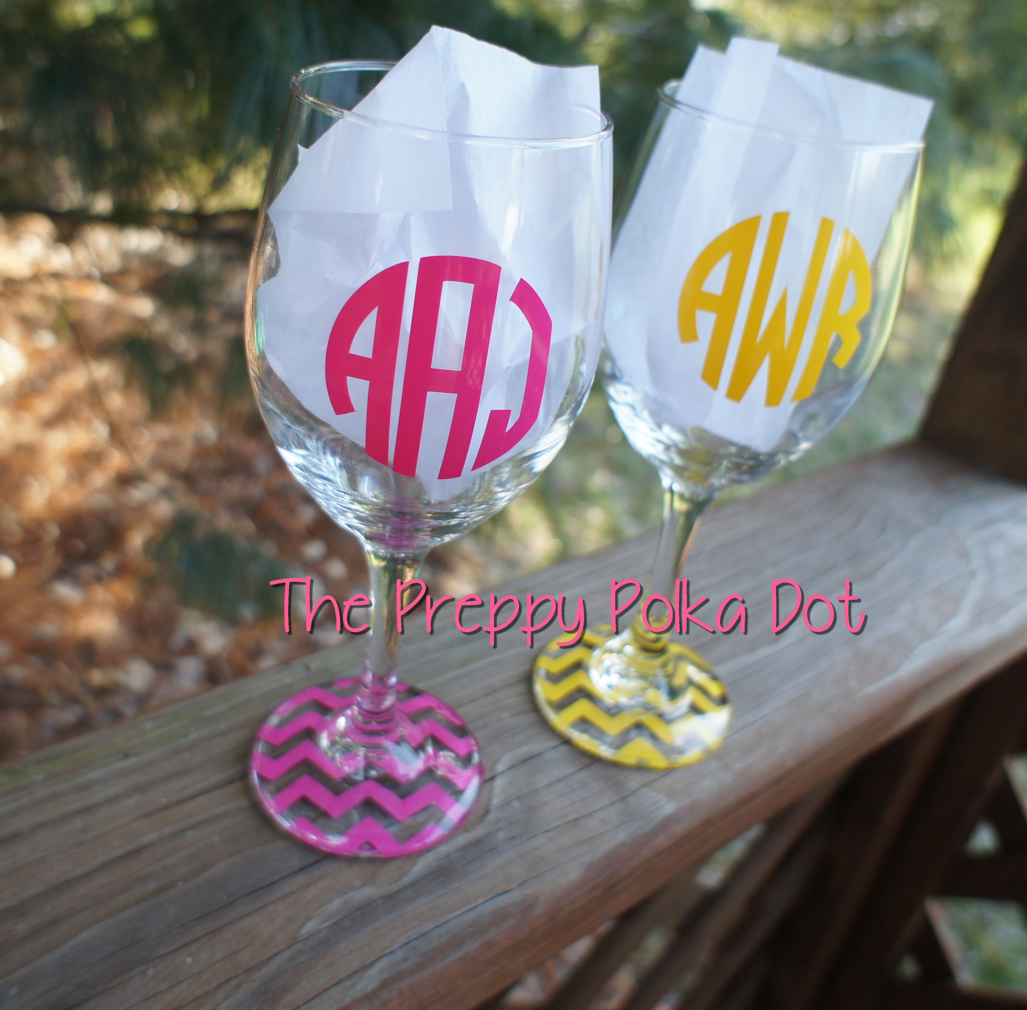 Monogram Personalized Chevron Base Wine Glass