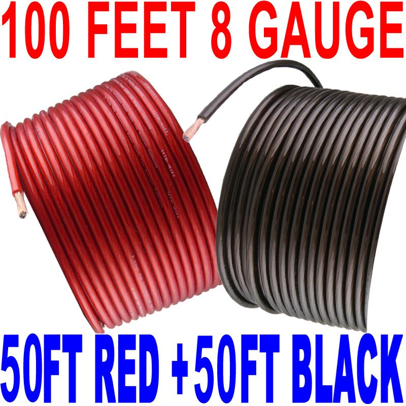 100' Ft Total 8 Gauge 50' BLACK And 50' RED Car Audio